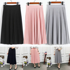 Elegant-Women-Chiffon-Elastic-Pleated-High-Waist-Casual-Skater-Flared-Midi-Skirt