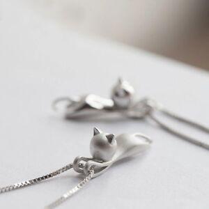 925-Sterlingsilber-Damen-Halskette-Halsketten-Anhaenger-Katze-Katzen-Cat-Silber
