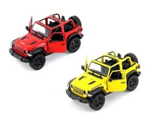 2018-Jeep-Wrangler-1-34-Scale-Diecast-Model-Toy-Car-WITHOUT-Hard-Top-Set-of-2