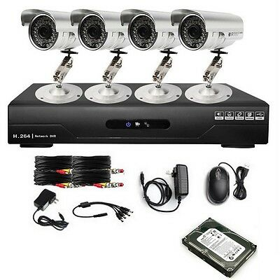 Network Security 4CH CCTV Video DVR System with Camera & 500GB HDD Night Vision