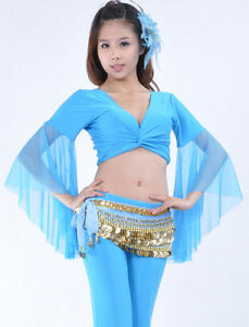 New-Belly-Dance-costume-choli-Flare-top-Blouse-9-Colours