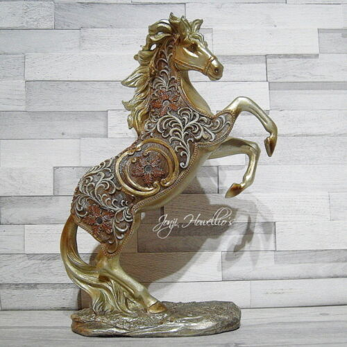 Large Gold Filigree Horse Rearing Ornament Figurine Shudehill Collectable 29cm