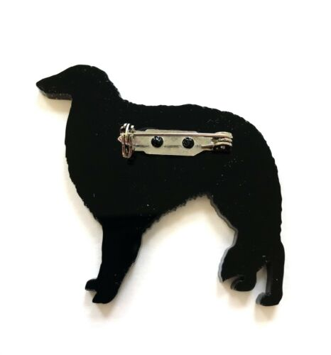 Borzoi Dog Russian Wolfhound Dog Brooch Pin Scarf Fastener Gift in Black