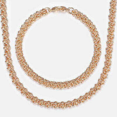 Men S Women S Jewelry Sets Swirl Link Chain 585 Rose Gold Necklace