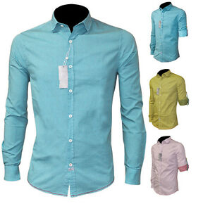 Camicia-Uomo-S-M-L-XL-XXL-Manica-Lunga-Verde-Bianco-Azzurro-Slim
