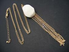 "$28 Panacea White Druzy Drusy Stone Pendant Goldtone Chain Tassel Necklace 34"""