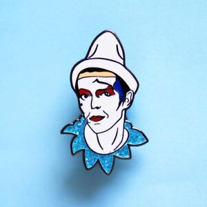 Details about David Bowie Ashes To Ashes Pierrot Pin Badge Aladdin Sane,  Life On Mars, Heroes
