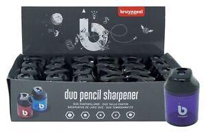Bruynzeel-2-Hole-Duo-Pencil-Sharpener-with-Transparent-Colour-Plastic-Case