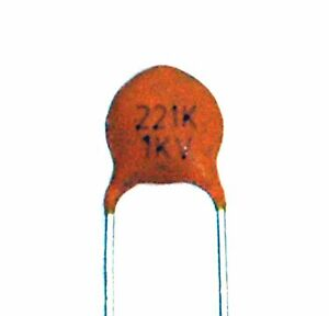 100pc Disc Ceramic Capacitor 221k 220pf 1kv K 177 10 Y5p