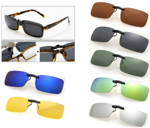 Sunglasses-Polarized-Clip-On-Driving-Glasses-Day-Night-Vision-Shade-Lens-UV400