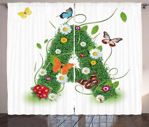 Image Is Loading Spring Letters Curtains 2 Panel Set Decoration 5