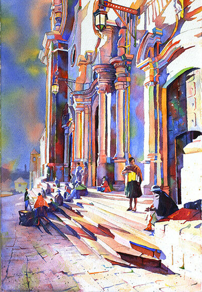 Church and people in plaza in Potosi, Bolivia (print).  WaterFarbe painting art