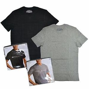 Tommy-Hilfiger-Mens-2-Pack-Undershirts-Classic-V-Neck-T-Shirt-Black-Grey-Tees