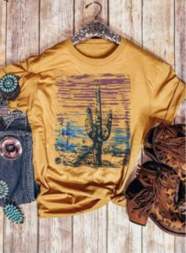 Summer T-shirts The cactus Printed Short Sleeve O Neck T-shirt S-XL