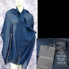 GUCCI Authentic New Designer Womens Shawl Scarf Wrap linen cashmere navy $565