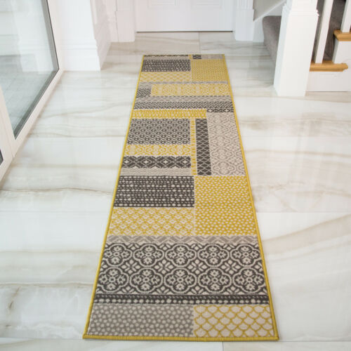 Amarillo Ocre Patchwork largo Hall corredores Gris comprobar largo pasillo corredor Rugs UK