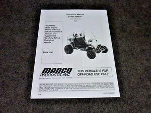 Details about MANCO MODEL 612-00 612-01 GO KART PARTS LIST OPERATORS MANUAL  CART