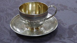 Non-u.s. Silver Antique 19c Russian Imperial 84 Silver Engraved Tea Cup & Saucer Full Hallmarked Harmonious Colors