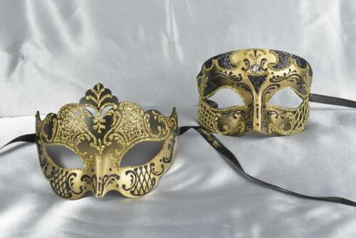His and Hers Venetian Masks Venetian Masquerade Smoking Giglio Gold