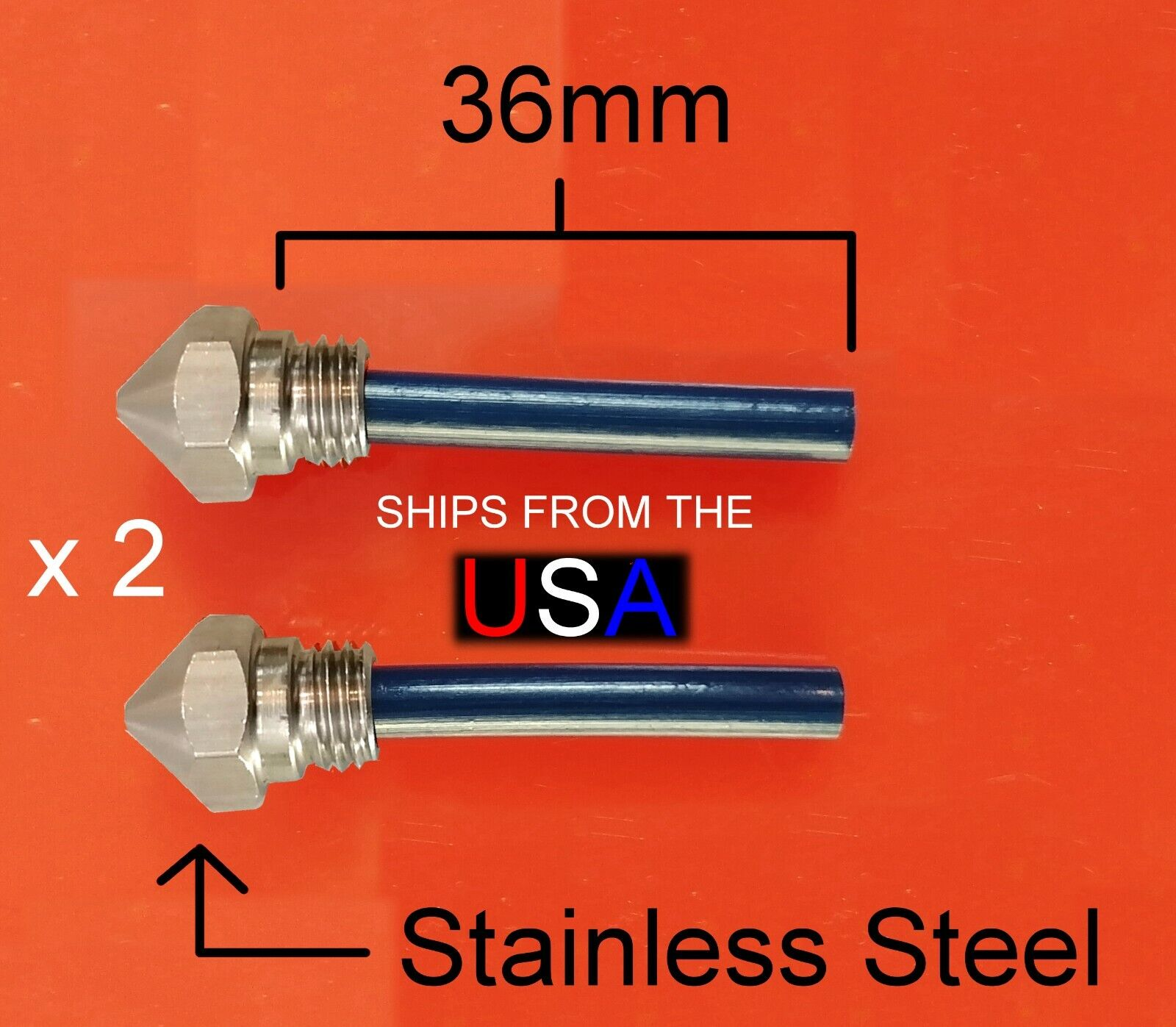 0.4mm STAINLESS Nozzle & 36mm PTFE Tube For QIDI X-One2 3D Printer: 2 Pieces