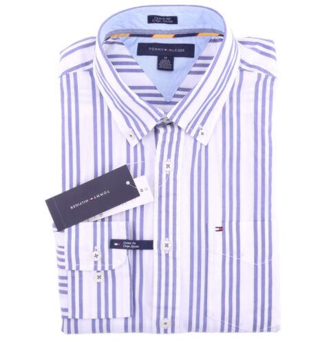 $0 Free Ship Tommy Hilfiger Men Long Sleeve Custom Fit Button Down Stripe Shirt