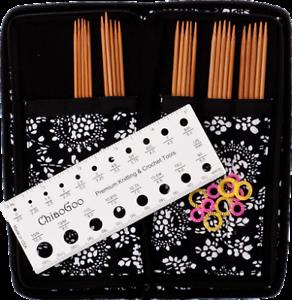 Chiaogoo Bamboo aguja juegos-set 15 cm 2,25-3,25mm con estuche cg3600