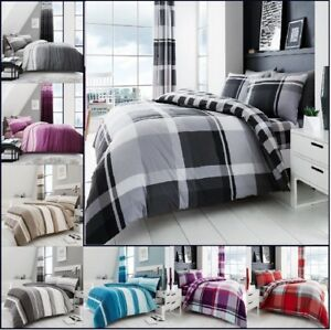 Luxury Wave Check Hudson Reversible Duvet Quilt Cover P C Or