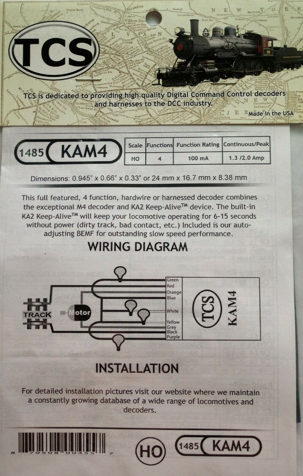 ventas en linea DCC TCS KAM4, 4 funciones, HO OO OO OO & decodificador de escala N con dispositivo de mantener viva  bienvenido a comprar