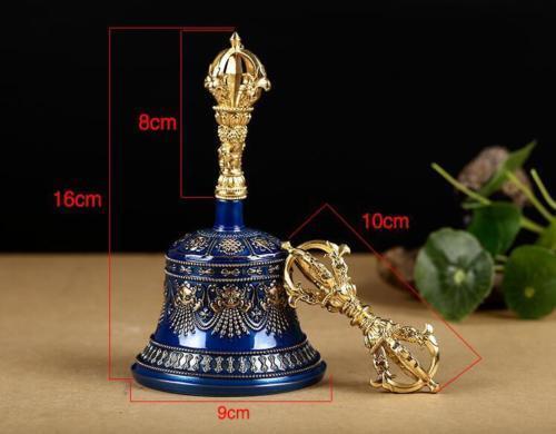 Tibetan Buddhism gokosho vajra and bell copper Hand-polished Lucky blue