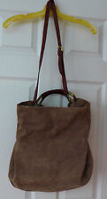 Etienne Aigner Large Taupe Suede Brown Leather Gold Tote Bag Handbag Purse NEW