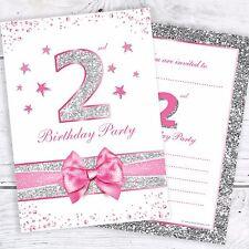2nd Compleanno Inviti-Rosa Luccicante Design Con Foto Argento Glitter Effetto pk10