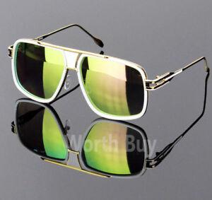 dc068f136d5 Details about New Mens Aviator Gold Hip Hop Fashion Mirror Sunglasses DMC  Run Square Gazelle