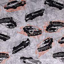 BonEful Fabric FQ Cotton Quilt Gray Black Orange Sports Car USA Garage Tool VTG