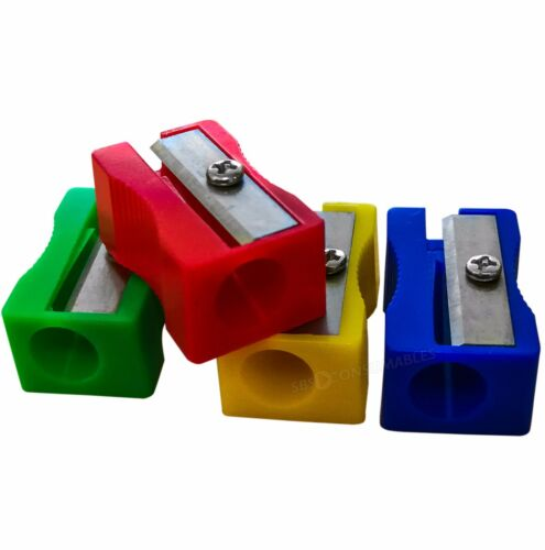 4 Plastic Coloured Single Hole Pencil Sharpeners Red Blue Yellow /& Green