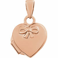 14k Rose Gold Heart Embossed Bow Petite Locket Holds 1-2 Pictures - Engravable