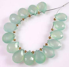 12 AQUA BLUE CHALCEDONY FACETED PEAR BRIOLETTE BEADS 8-9 mm  C9