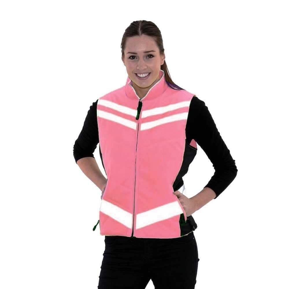 Equisafety-Gilet trapuntato Hi Viz Riflettente Gilet Equitazione-rosa