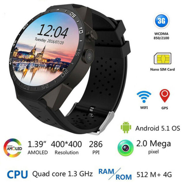 Awow Kw88 3g Wifi Smart Watch Cell Phone All In One Android 5 1 Supports Nano For Sale Ebay