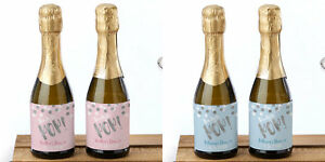 24 personalized mini ready to pop wine bottle labels baby shower