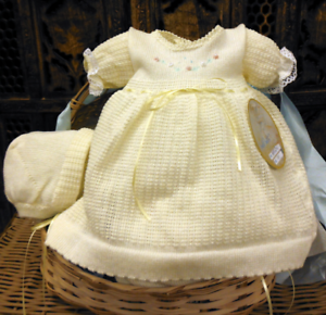 NWT-Will-039-beth-Girls-Yellow-Knit-Dress-3pc-Set-with-Bonnet-amp-Bloomers-Preemie