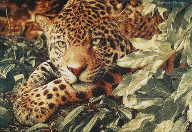 WALL JACQUARD WOVEN TAPESTRY Leopard in Jungle WILD CAT ANIMAL PICTURE