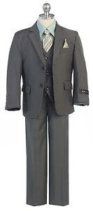 Boy Toddler Kid Teen 5PC Wedding Formal Party Moss Olive Suit Tuxedo Vest 2-20
