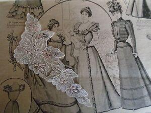Naaien en breien ANCIENNE GUIPUREPARADISCHAMPAGNE BOUTON DE FLEURS BRODE ROSE   vendu à l'unité
