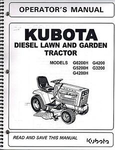 KUBOTA G3200 G4200 G4200H G526200H L G TRACTORS OPERATORS MANUAL