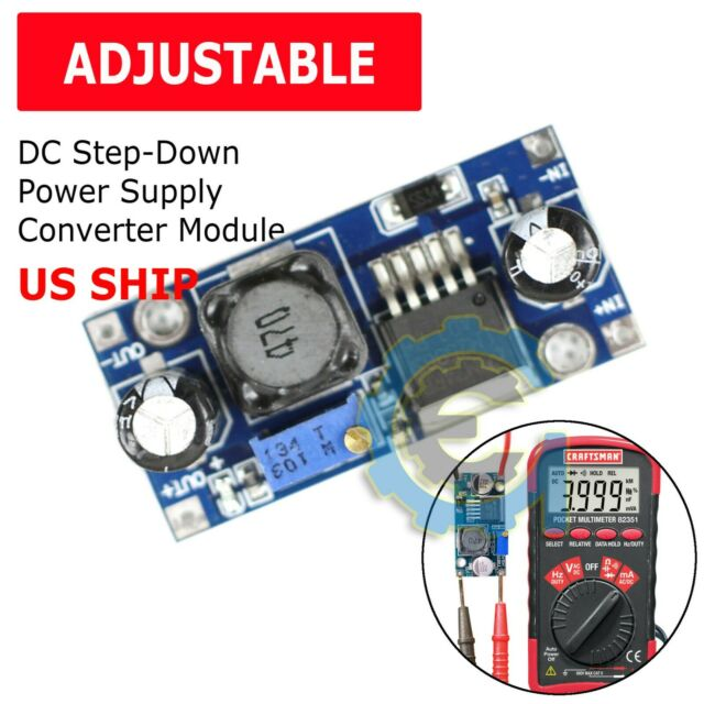 Pzsmocn High Current,Low Ripple,DC-DC Adjustable Buck Module with Digital Voltmeter Display Power Supply Compatible with Arduino