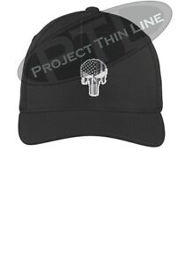Tactical Subdued Punisher Skull SWAT 511 Black White Flex Fit Baseball Cap Hat