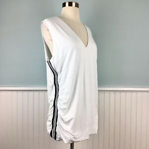 Size 1X INC White Sleeveless Ruched Tank Top Tunic Shirt Blouse Women's Plus NWT