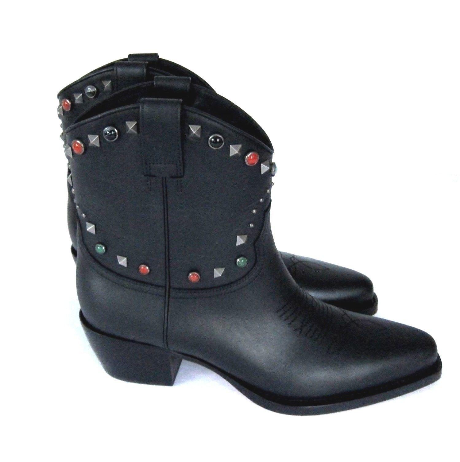 J-2885237 New Valentino Garavani Black Western Ankle Boots Size US 10 Marked 40