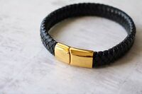 Mens Personalised Leather Bracelet - Engraved Gift - Ip Gold Plated