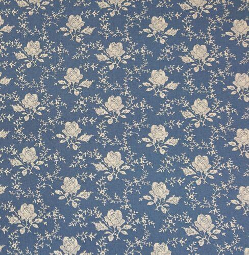 Vintage Rose Azul 100/% Algodón Popelín Floral Vestido empavesado Acolchar Tela Artesanal